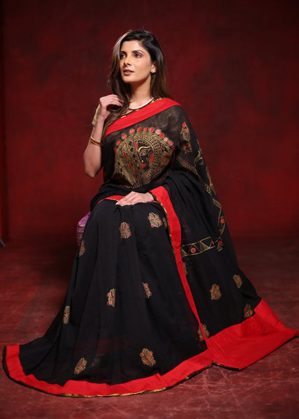 Exclusive hand painted black chanderi saree with madhubani art - Sujatra