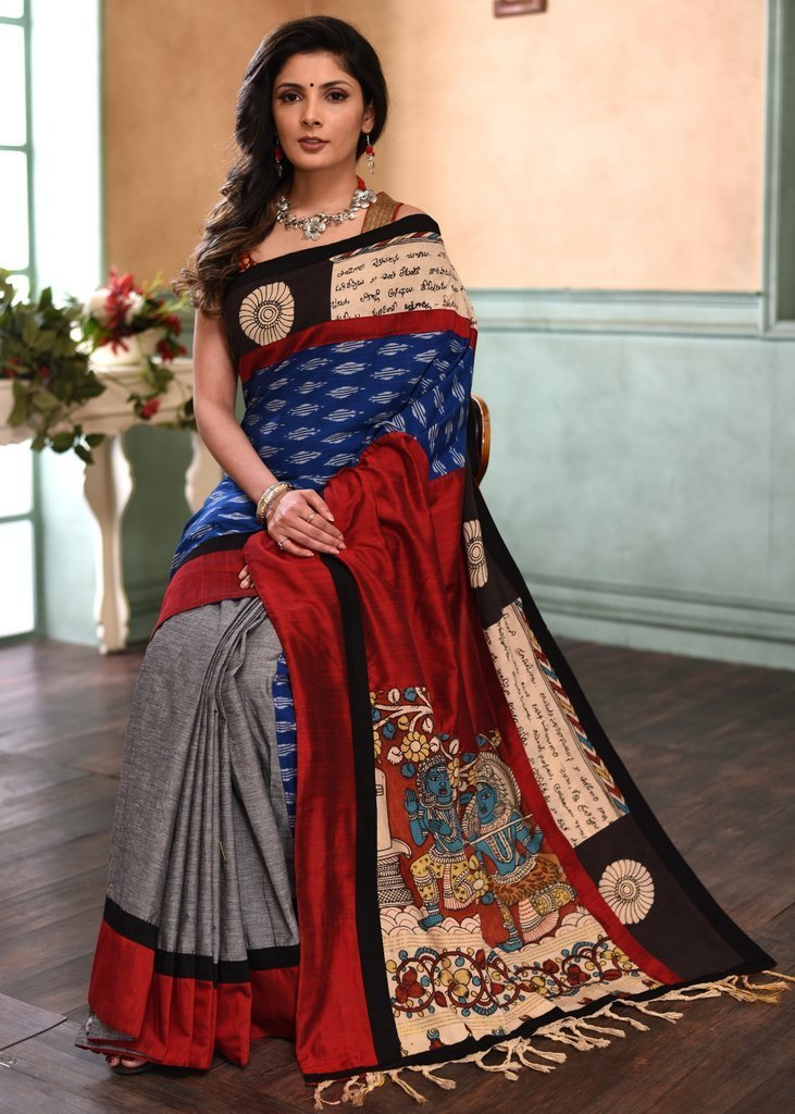 Saree - Exclusive Hand Painted Kalamakri Work On Border & Pallu With Ikat & Grey Handloom Cotton Pleats - Delivery In 7-10 Days