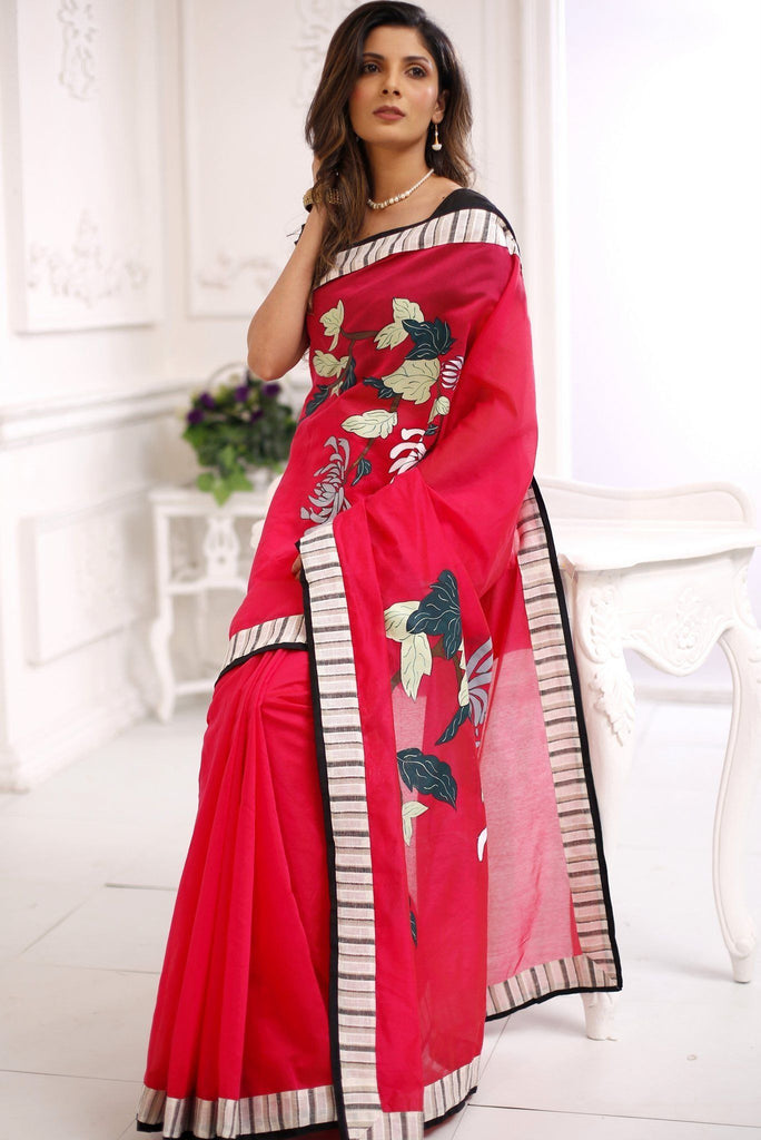 Saree - Exclusive Hand Painted Pink Chanderi Saree