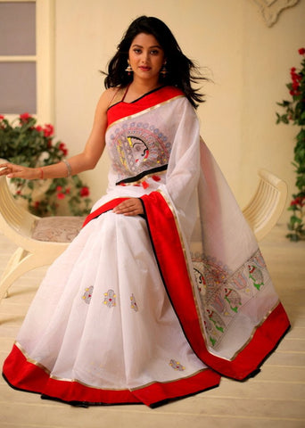 Exclusive hand painted saree on white chanderi