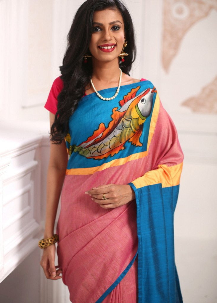 Saree - Exclusive Hand Painted Work With Pink & Blue Cotton Silk Saree