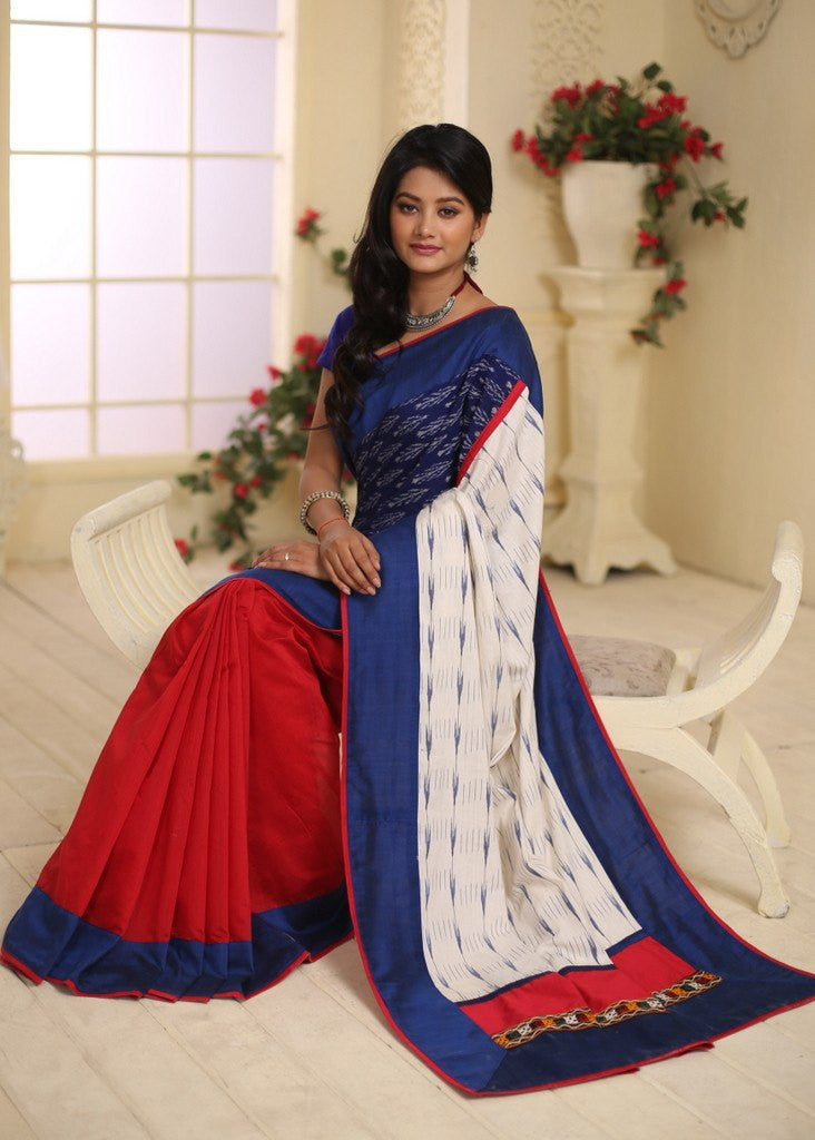 Saree - Exclusive Ikat Combination Saree With Red Chanderi Pleats
