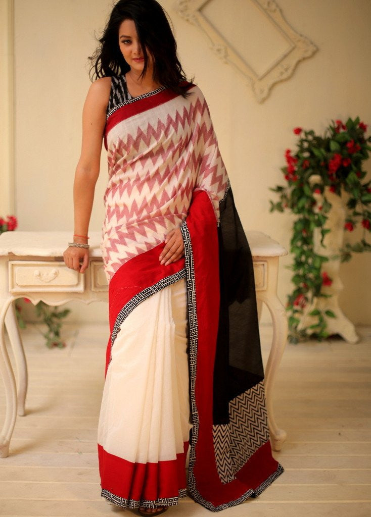 Saree - Exclusive Ikat Combination Saree With White And Black Chanderi