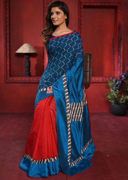 Saree - Exclusive Ikat & Red Chanderi Saree With Blue Cotton Silk Pallu