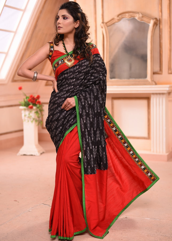 Saree - Exclusive Ikat Saree With Kutch Mirror Work Border & Red Cotton Silk Pleats