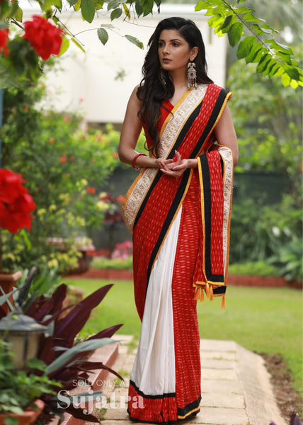 Saree - Exclusive Ikat & White Cotton Silk Comtbination Saree With Pearl Work Border