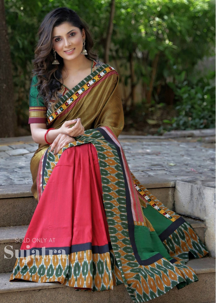 Saree - Exclusive Khun Saree With Ikat & Kutch Mirror Work Saree & Cotton Silk Pleats