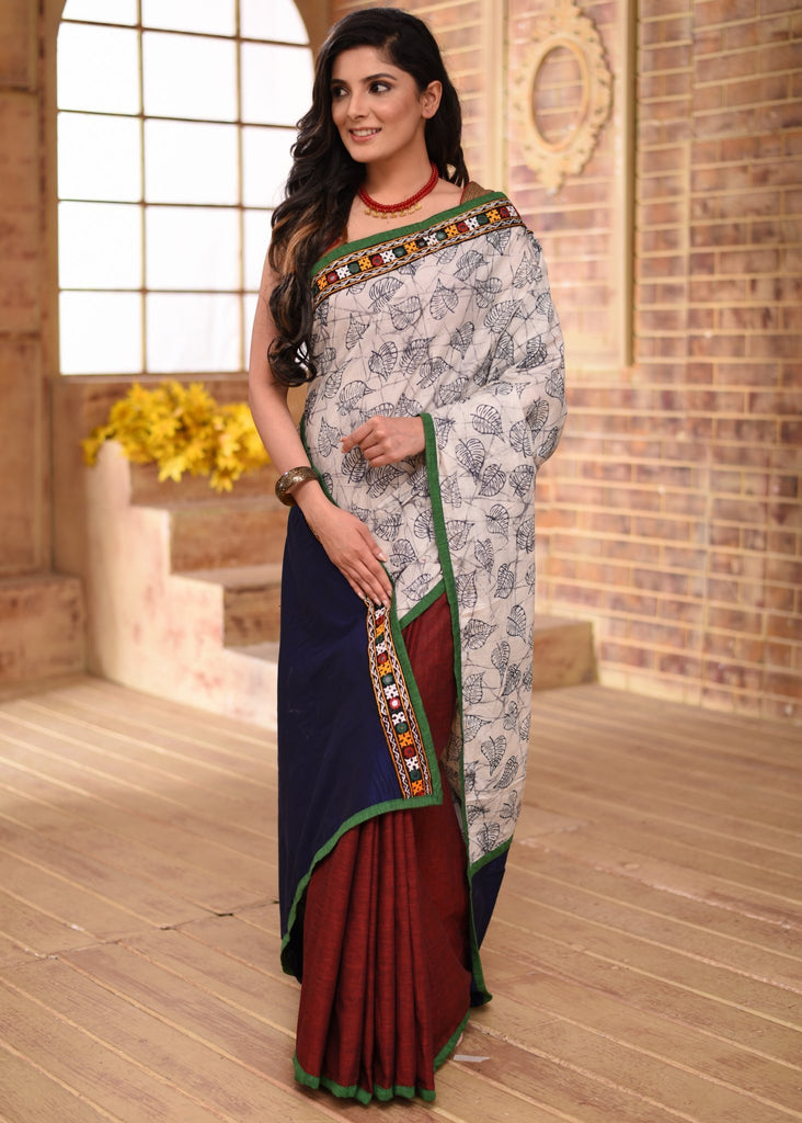 Saree - Exclusive Leaf Printed Cotton Saree With Handloom Cotton Pleats & Kutch Mirror Work