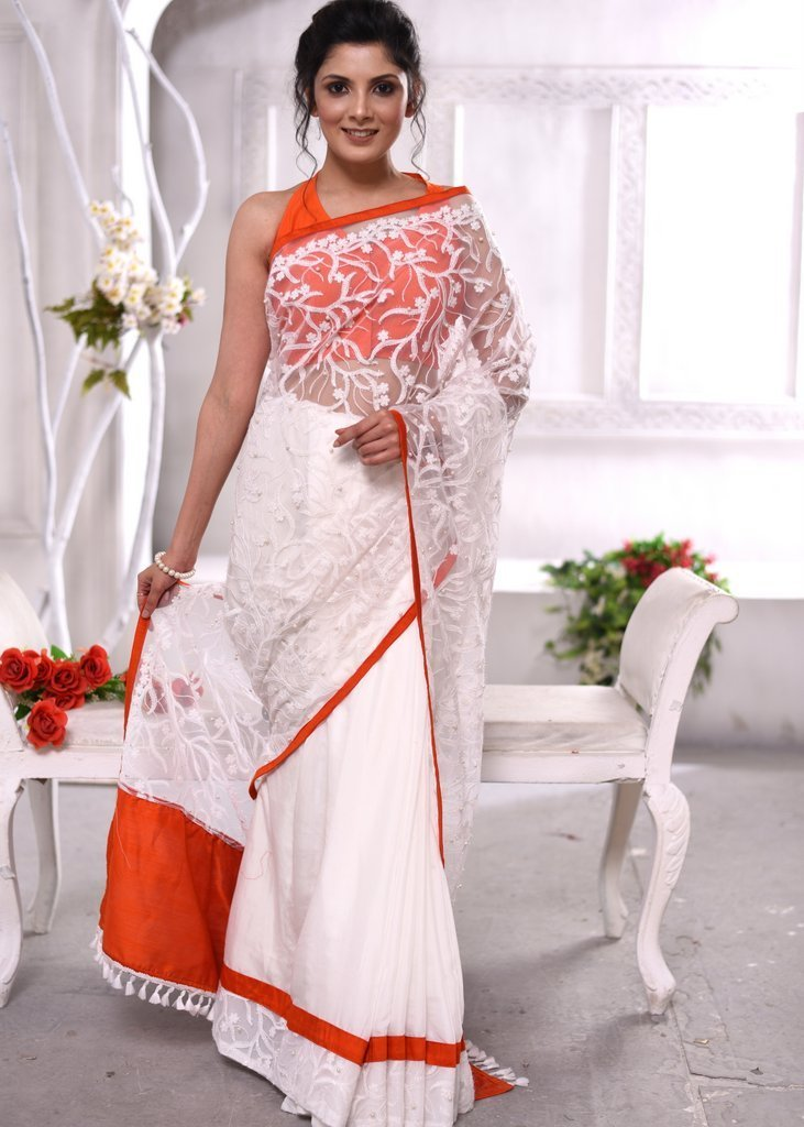 Saree - Exclusive Pearls Embroidered Net Saree With Satin Pleats Combination