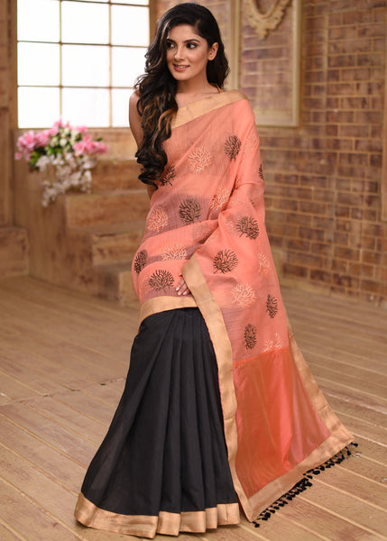 Saree - Exclusive Pink Embroidered Organza With Black Chanderi Pleats Saree