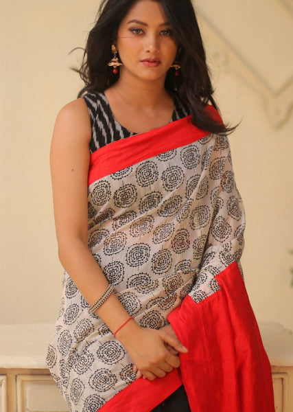 Saree - Exclusive Printed Chanderi Combination With Red & Black Cotton Silk