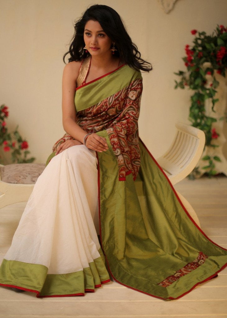Saree - Exclusive Printed Chanderi In Front With White Chanderi Pleats & Green Cotton Silk Pallu