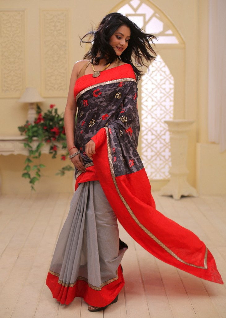 Saree - Exclusive Printed Cotton With Red Cotton Silk Anchal And Grey Chanderi Pleats
