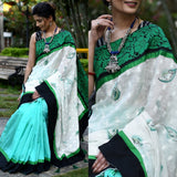 Saree - Exclusive Printed Linen & Green Chanderi Pleats Combination With Zari Border Saree