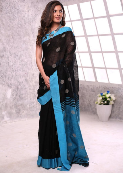 Saree - Exclusive Pure Linen Saree With Buti Work