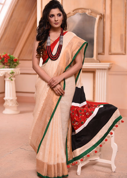 Saree - Exclusive Pure Linen Saree With Kantha Work Pallu