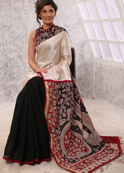 Saree - Exclusive Pure Tasar Silk Combinaiton With Hand Painted Kalamkari Pallu & Black Chanderi Pleats Saree