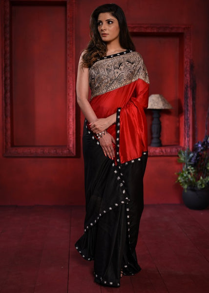 Saree - Exclusive Red & Black Semi Silk Combination Saree With Hand Painted Madhubani Painting In Front