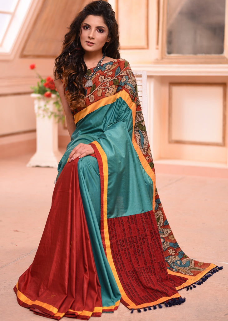 Saree - Exclusive Semi Silk Saree With Hand Painted Kalamkari Border With Mantra Printed Pallu