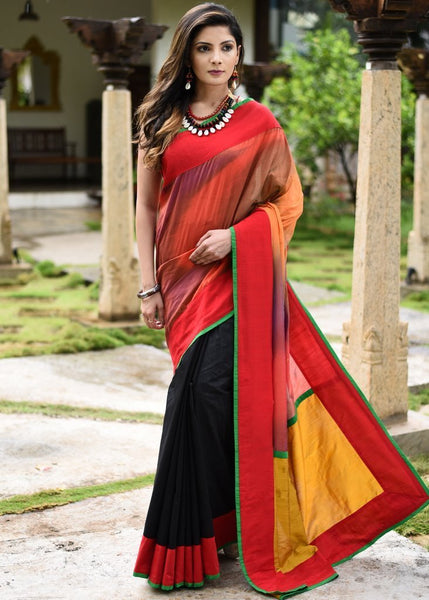 Saree - Exclusive Shaded Silk & Black Chanderi Combination Saree