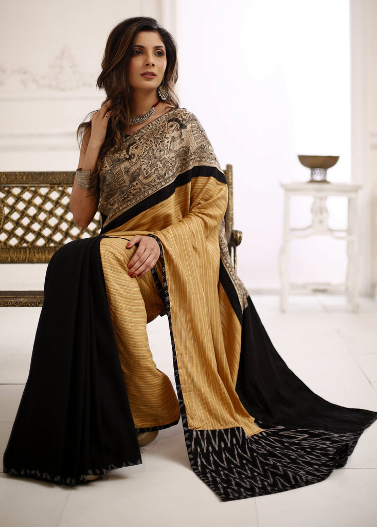 Saree - Exclusive Striped Pure Silk Saree With Madhubani Hand Painting With Black Cotton Silk Pleats