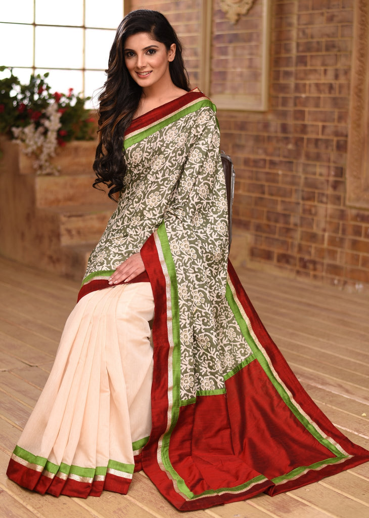 Saree - Exclusive Summer Printed Cotton Saree With Off White Chanderi Pleats