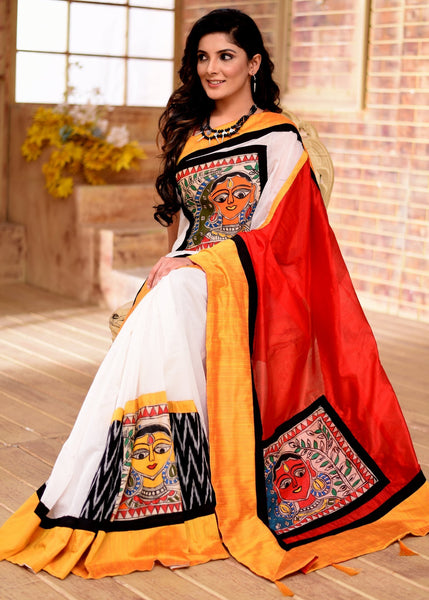 Saree - Exclusive White Chanderi Saree With Intricate Hand Painted Madhubani & Ikat Combination