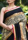 Saree - Exclusive Woven Benarasi Chanderi Saree With Coffee Chanderi Pleats & Zari Border
