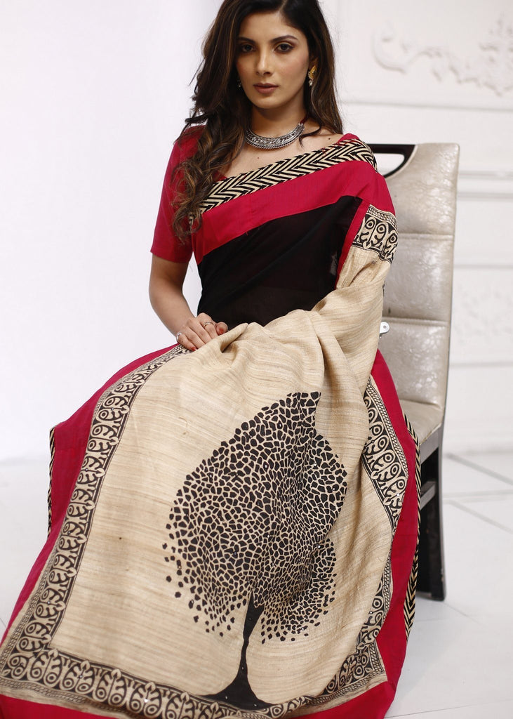 Saree - Exlclusive Black & Beige Chanderi Saree With Printed Pure Silk Pallu
