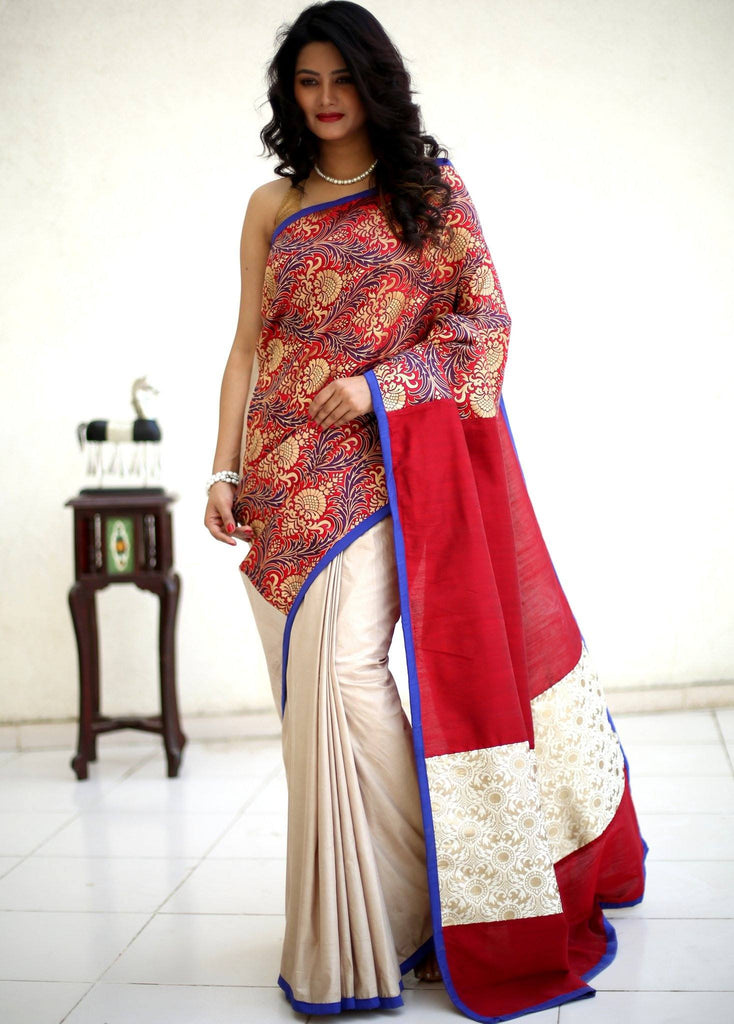 Saree - Exquisite Benarasi Work Saree With Cotton Silk Pleats And Zari Patch