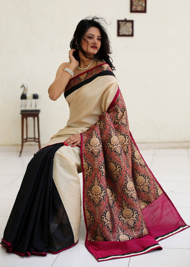 Saree - Exquisite Benarasi Work With Beige And Black Cotton Silk Combination Saree