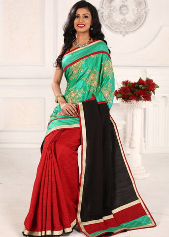 Exquisite embroidery on green semi silk with cotton silk pallu and pleats saree