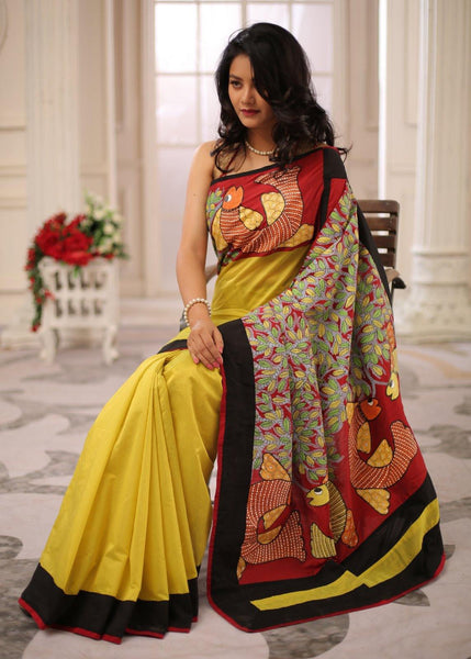 Exquisite gond tribal art painted saree with lemon yellow chanderi combination saree - Sujatra