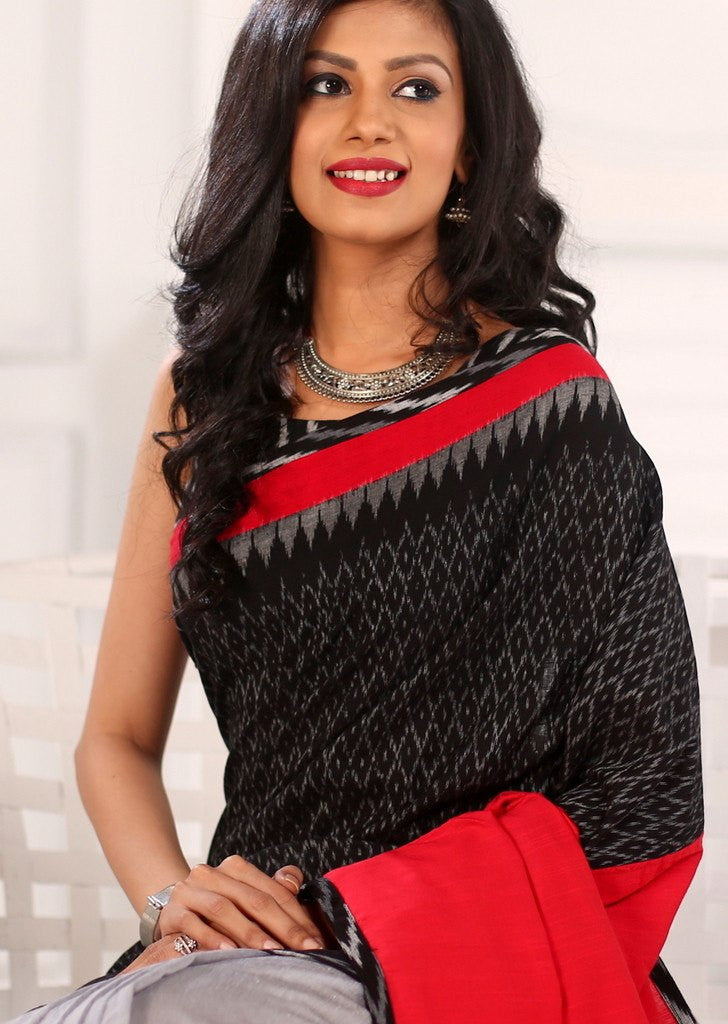 Saree - Exquisite Ikat Cotton In Front With Red Cotton Silk And Grey Chanderi Pleats Saree