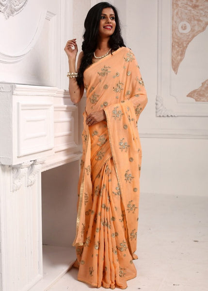 Saree - Exquisite Peach Color Pure Shiffon Saree With Embroidery All Over