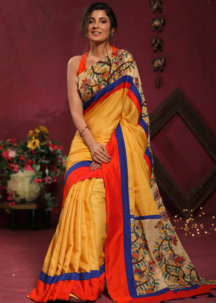 Saree - Fine Linen Cotton Mix Saree With Hand Painted Madhubani Work
