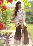 Saree - Floral Embroidered Saree With Brown Handloom Cotton Combination