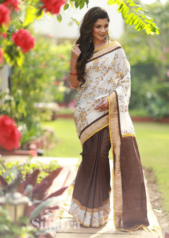 Floral embroidered saree with brown handloom cotton combination