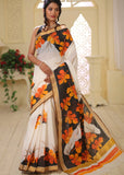 Floral hand painted bengal cotton saree - Sujatra