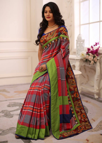 Gamcha Cotton saree with hand painted kalamkari border & mirror work from kutch - Sujatra