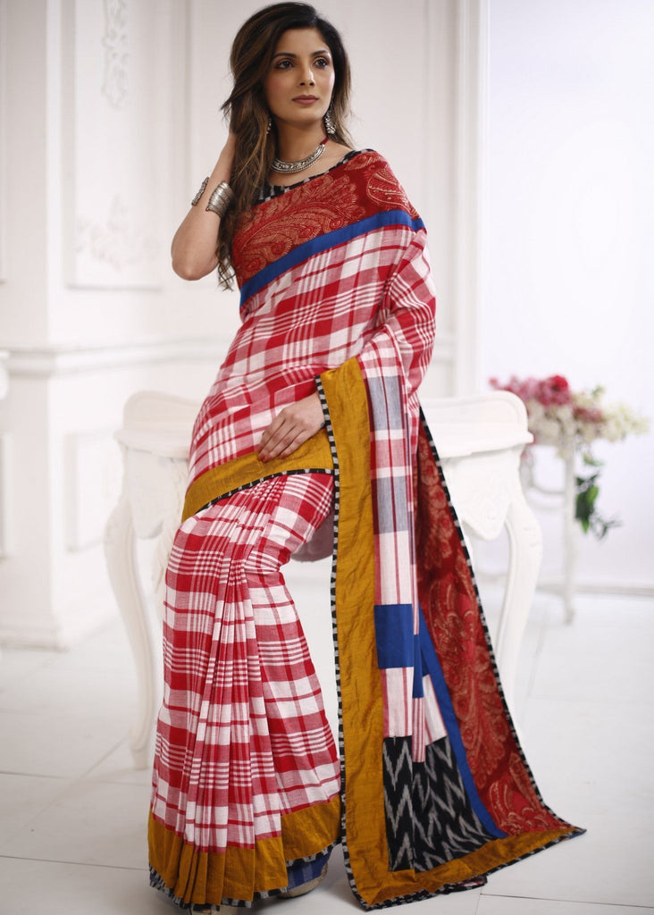 Saree - Gamcha Cotton Saree With Kalamkari Border