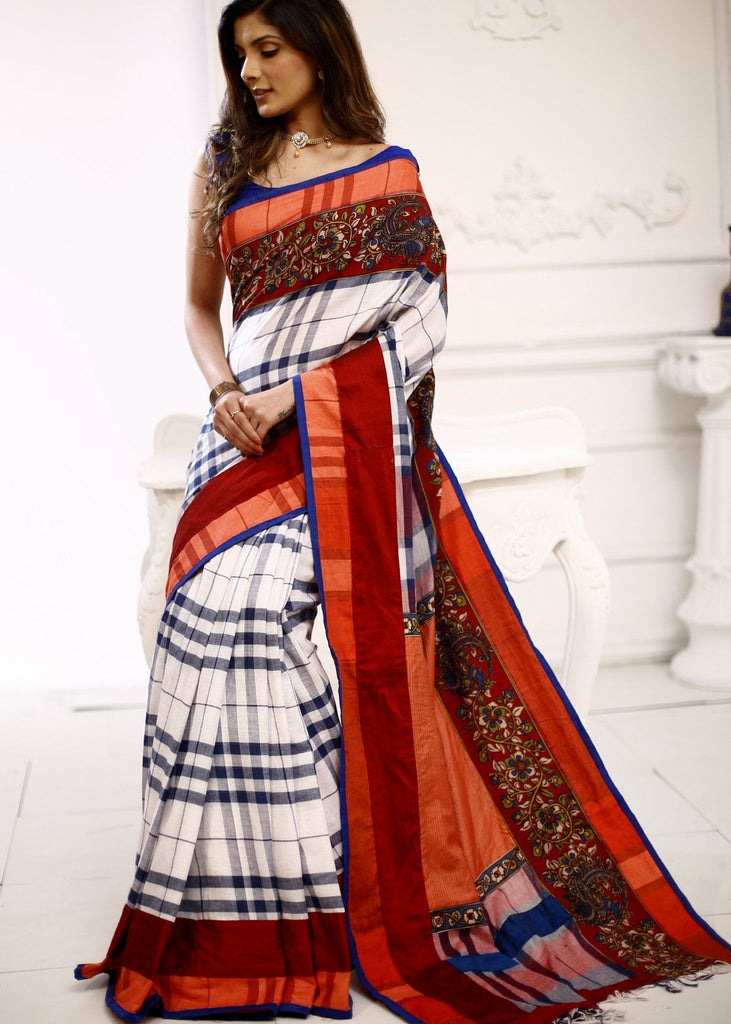 Saree - Gamcha Cotton Saree With Kalamkari Printed Border