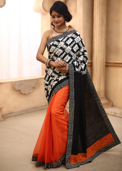 Saree - Geometric Ikat Work Combined With Orange Kota Pleats & Mantra Print Border
