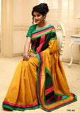 Saree - Golden Slub Silk With Abstract Patchwork On Pallu And Front