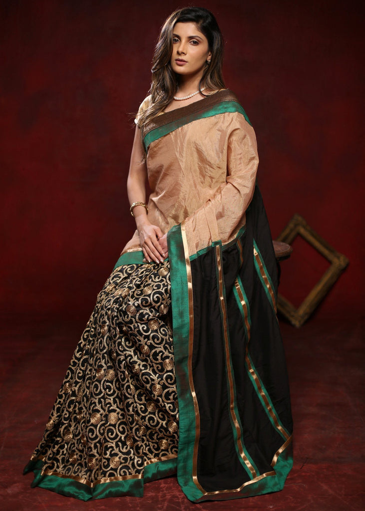 Saree - Golden Tissue Saree With Cutwork Pleats & Black Cotton Silk Pallu