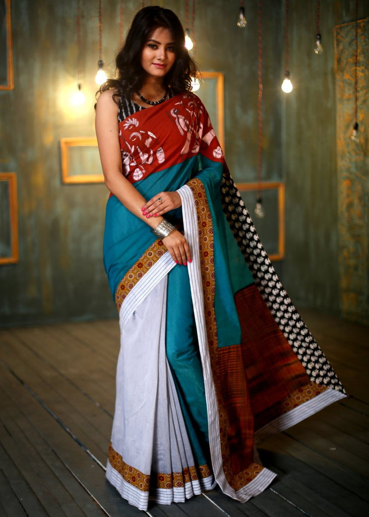 Saree - Green And Grey Hand Painted Saree With Handloom Pallu