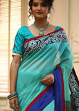 Saree - Green Chanderi With Hand Batik Border & Ikat Pallu