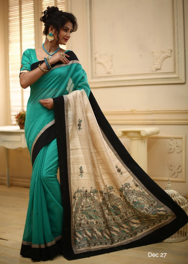 Saree - Green Chanderi With Hand Painted Madhubani Art Pallu & Black Border