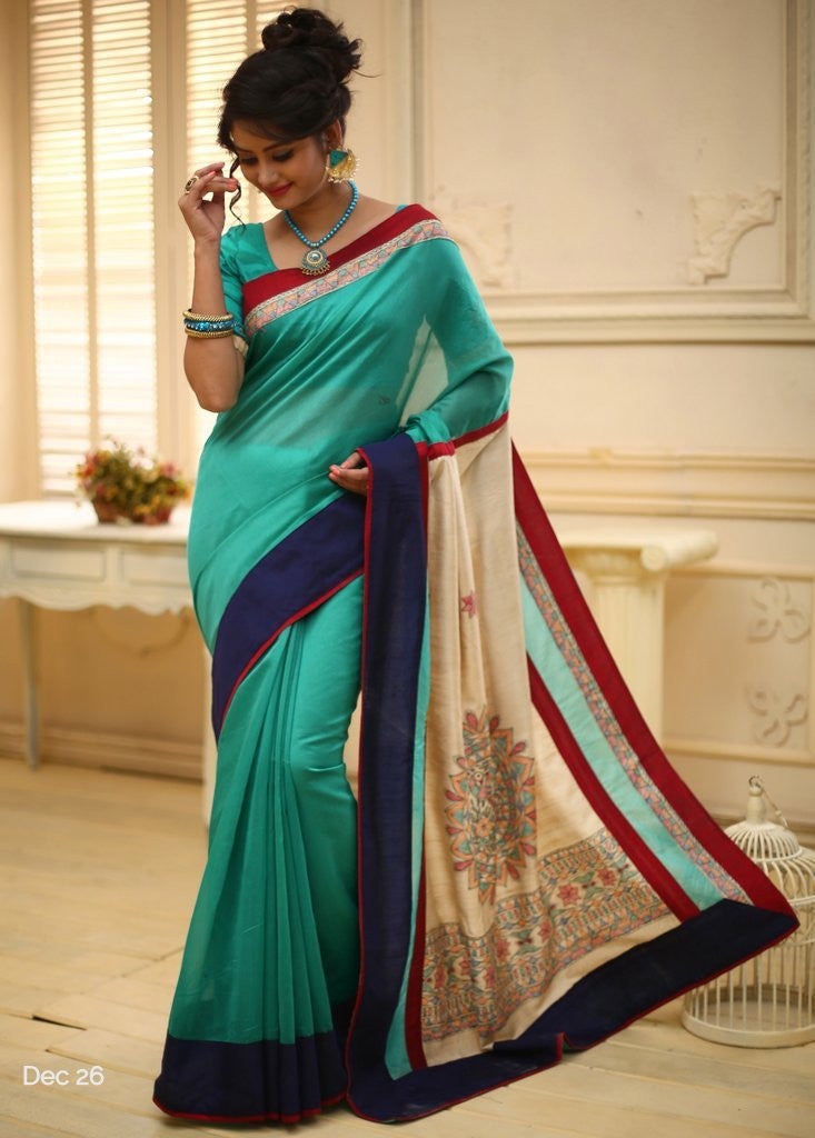 Saree - Green Chanderi With Hand Painted Madhubani Art Pallu & Madhubani Border