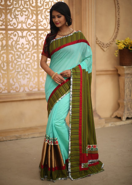 Saree - Green Chanderi With Striped Cotton Pallu & Embroidered  Floral Motifs